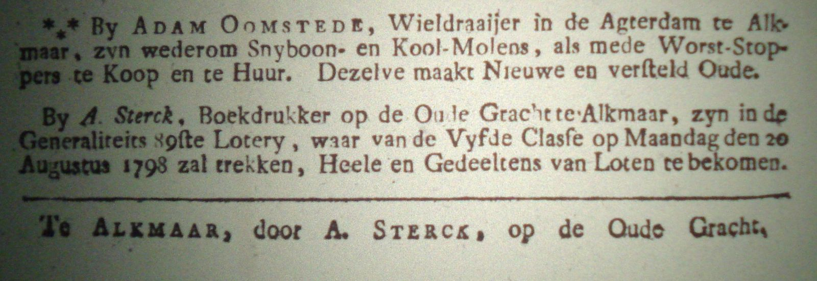 Wieldraaier Adam Oomstede adverteert in 1798 in de AC.
